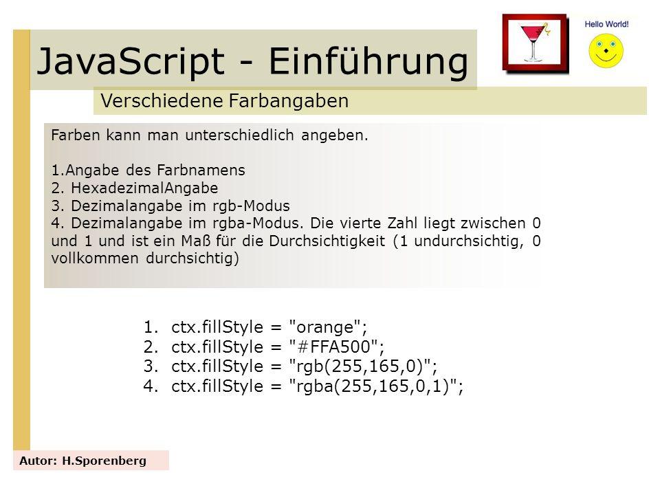 JavaScript - Einführung Verschiedene Farbangaben Autor: H.Sporenberg Farben kann man unterschiedlich angeben. 1.Angabe des Farbnamens 2. HexadezimalAn