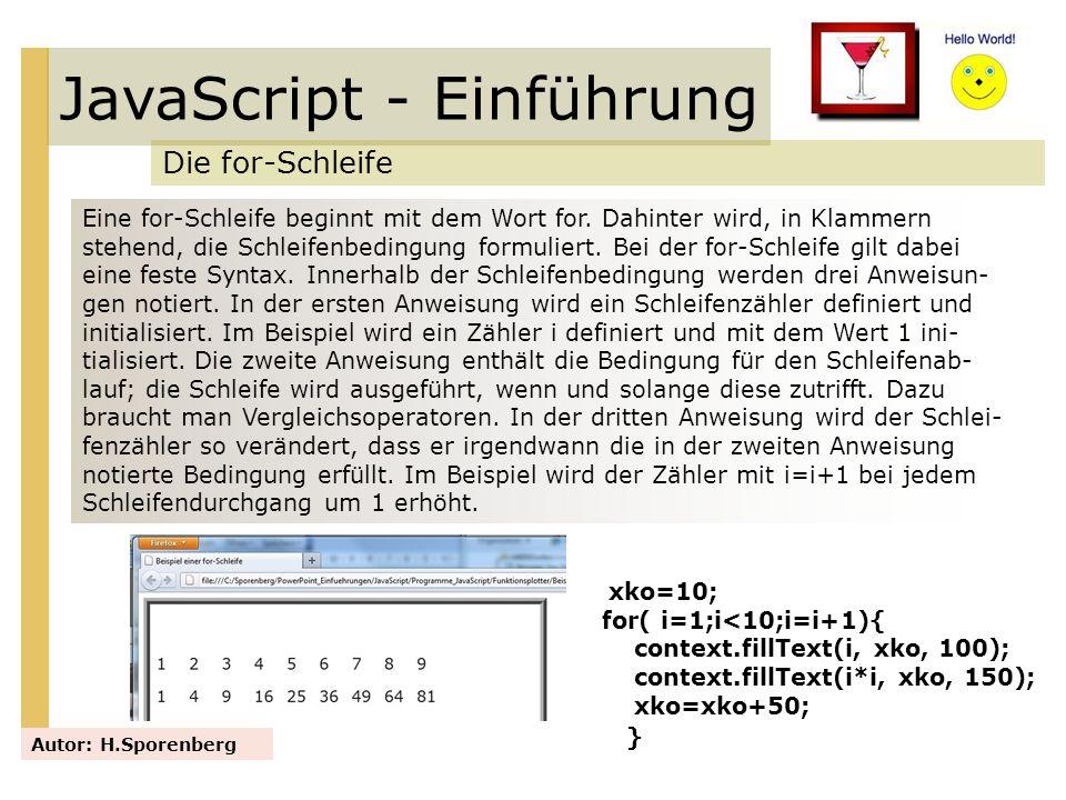 JavaScript - Einführung Die for-Schleife Autor: H.Sporenberg Eine for-Schleife beginnt mit dem Wort for. Dahinter wird, in Klammern stehend, die Schle