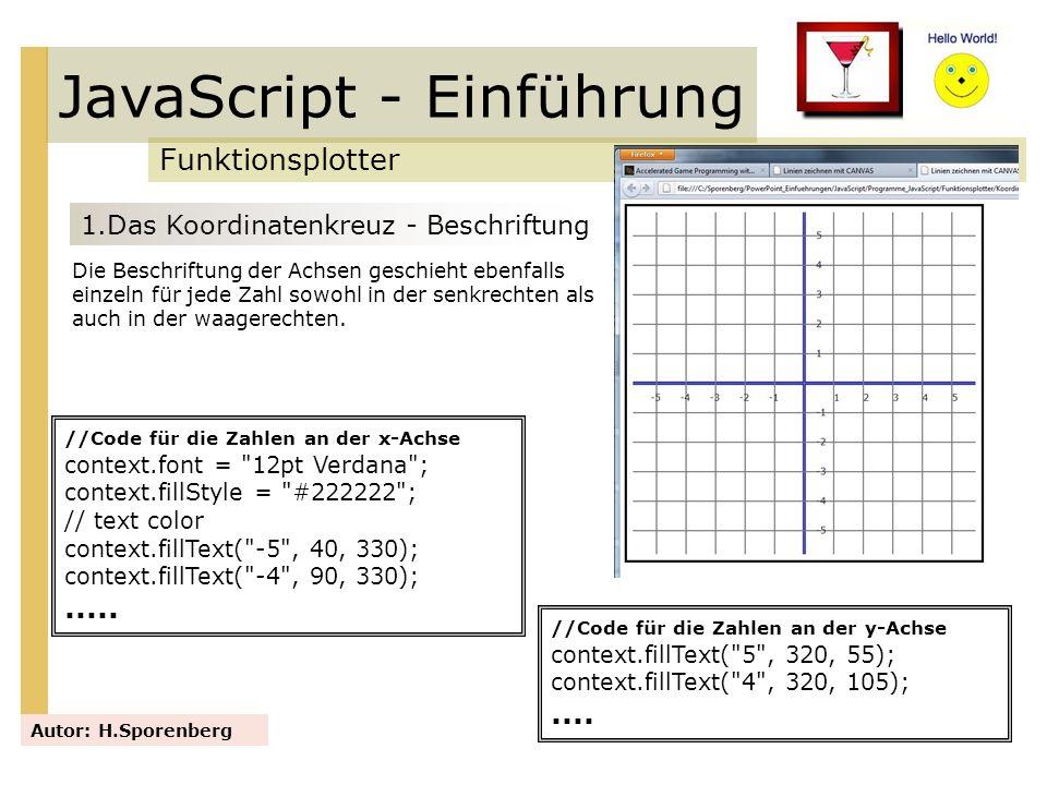 JavaScript - Einführung Funktionsplotter Autor: H.Sporenberg 1.Das Koordinatenkreuz - Beschriftung Die Beschriftung der Achsen geschieht ebenfalls ein