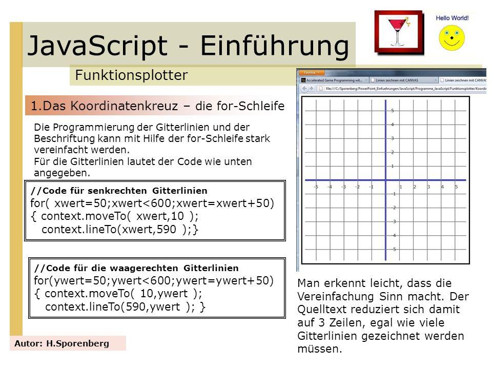 JavaScript - Einführung Funktionsplotter Autor: H.Sporenberg 1.Das Koordinatenkreuz – die for-Schleife Die Programmierung der Gitterlinien und der Bes