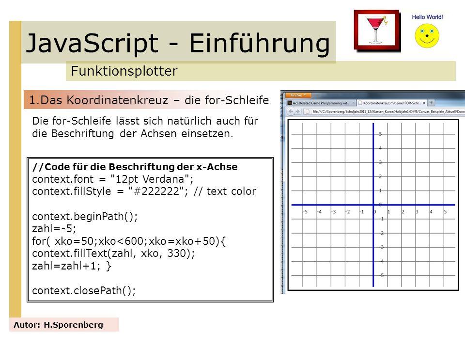 JavaScript - Einführung Funktionsplotter Autor: H.Sporenberg Die for-Schleife lässt sich natürlich auch für die Beschriftung der Achsen einsetzen. //C