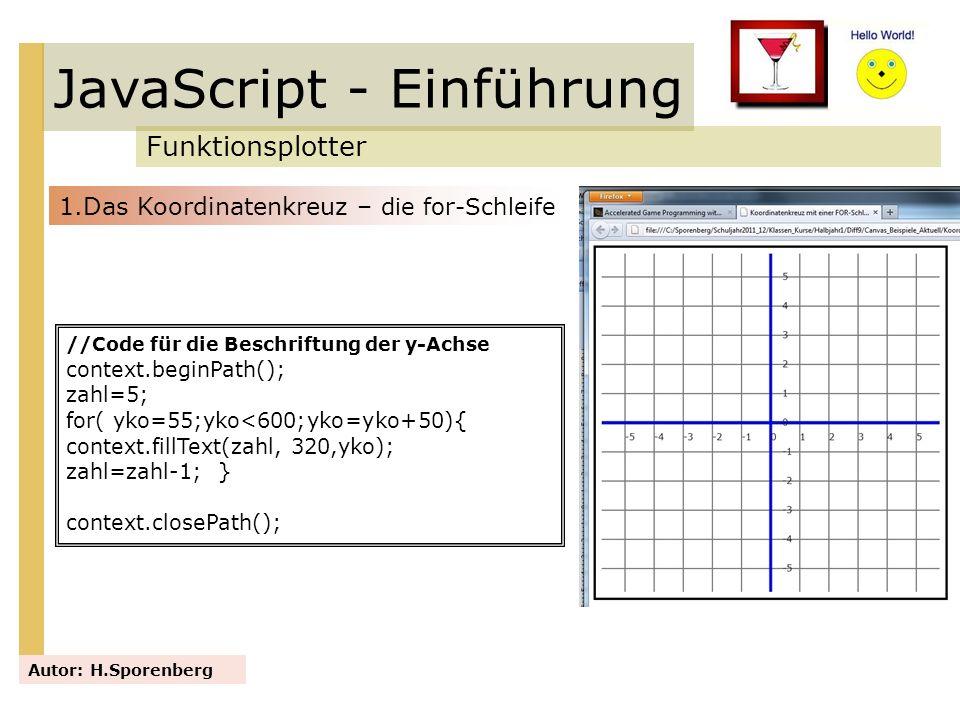 JavaScript - Einführung Funktionsplotter Autor: H.Sporenberg //Code für die Beschriftung der y-Achse context.beginPath(); zahl=5; for( yko=55;yko<600;