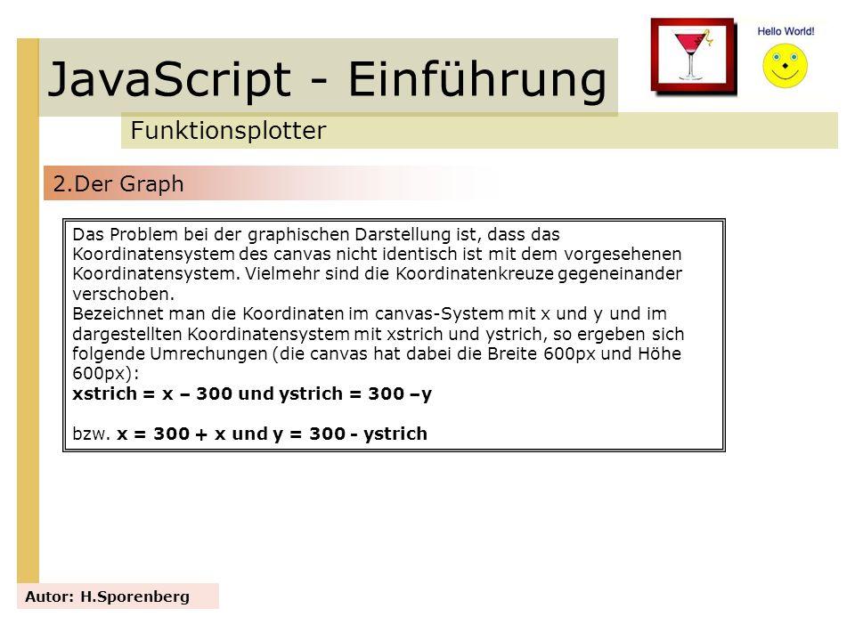 JavaScript - Einführung Funktionsplotter Autor: H.Sporenberg Das Problem bei der graphischen Darstellung ist, dass das Koordinatensystem des canvas ni