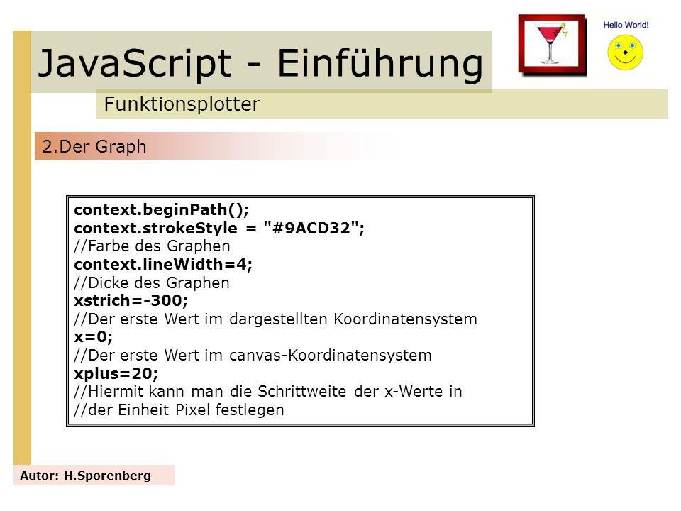 JavaScript - Einführung Funktionsplotter Autor: H.Sporenberg context.beginPath(); context.strokeStyle =