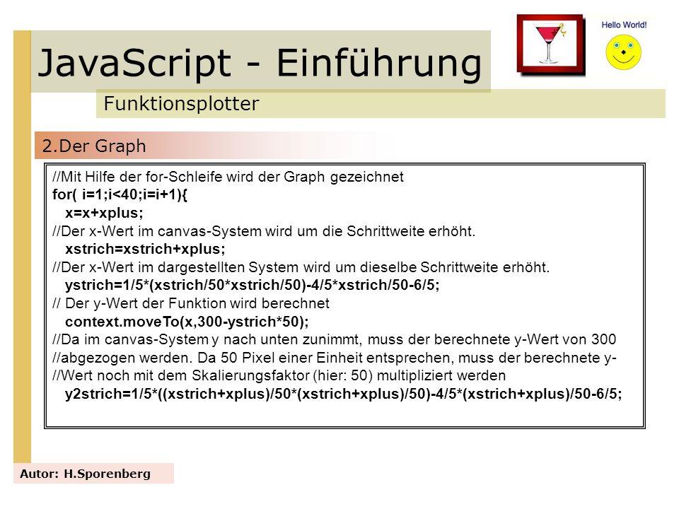JavaScript - Einführung Funktionsplotter Autor: H.Sporenberg //Mit Hilfe der for-Schleife wird der Graph gezeichnet for( i=1;i<40;i=i+1){ x=x+xplus; /