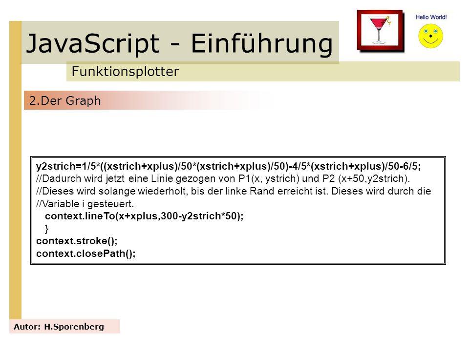 JavaScript - Einführung Funktionsplotter Autor: H.Sporenberg y2strich=1/5*((xstrich+xplus)/50*(xstrich+xplus)/50)-4/5*(xstrich+xplus)/50-6/5; //Dadurc