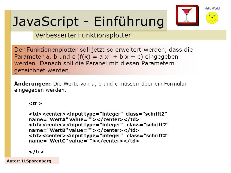 JavaScript - Einführung Verbesserter Funktionsplotter Autor: H.Sporenberg Der Funktionenplotter soll jetzt so erweitert werden, dass die Parameter a,