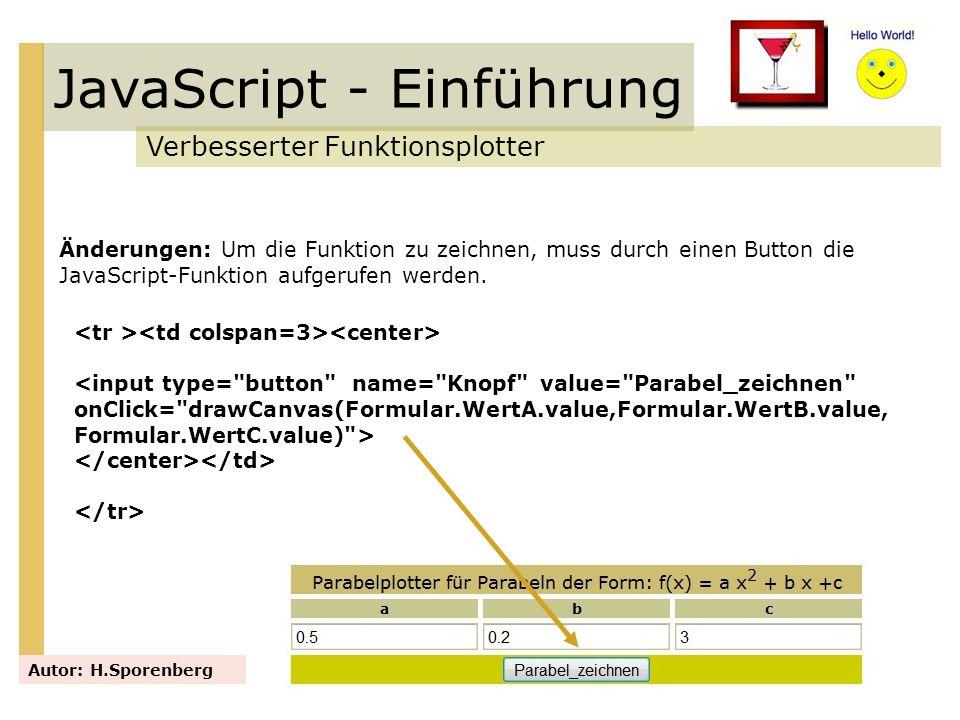 JavaScript - Einführung Verbesserter Funktionsplotter Autor: H.Sporenberg Änderungen: Um die Funktion zu zeichnen, muss durch einen Button die JavaScr
