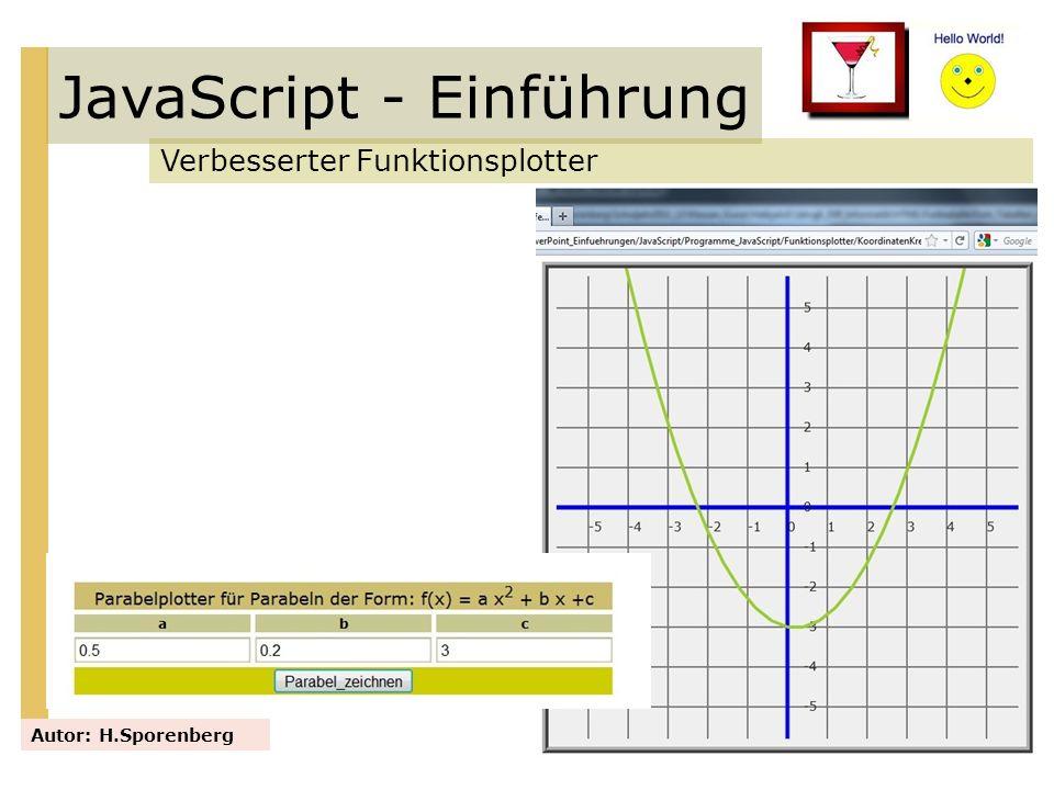 JavaScript - Einführung Verbesserter Funktionsplotter Autor: H.Sporenberg