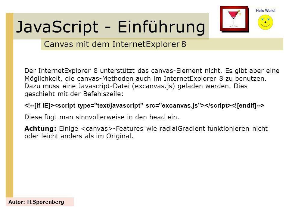 JavaScript - Einführung Canvas mit dem InternetExplorer 8 Autor: H.Sporenberg Der InternetExplorer 8 unterstützt das canvas-Element nicht. Es gibt abe