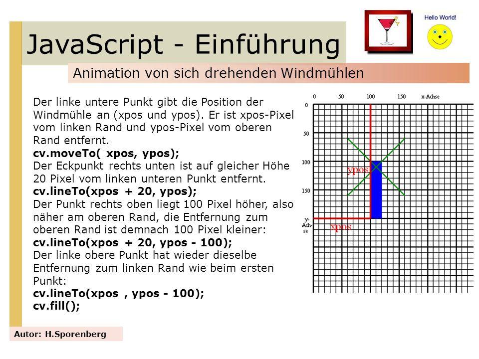 JavaScript - Einführung Animation von sich drehenden Windmühlen Autor: H.Sporenberg Der linke untere Punkt gibt die Position der Windmühle an (xpos un