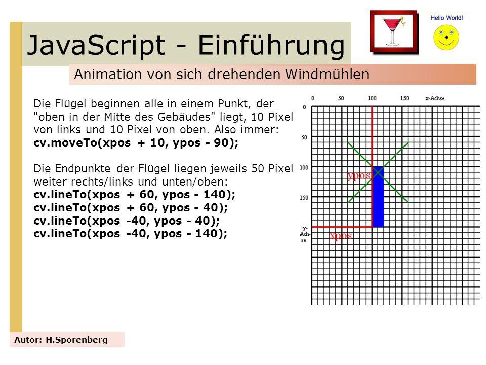 JavaScript - Einführung Animation von sich drehenden Windmühlen Autor: H.Sporenberg Die Flügel beginnen alle in einem Punkt, der