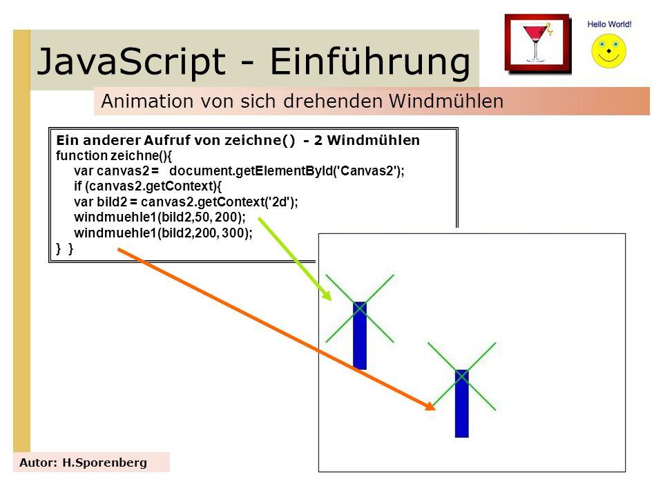 JavaScript - Einführung Animation von sich drehenden Windmühlen Autor: H.Sporenberg Ein anderer Aufruf von zeichne() - 2 Windmühlen function zeichne()
