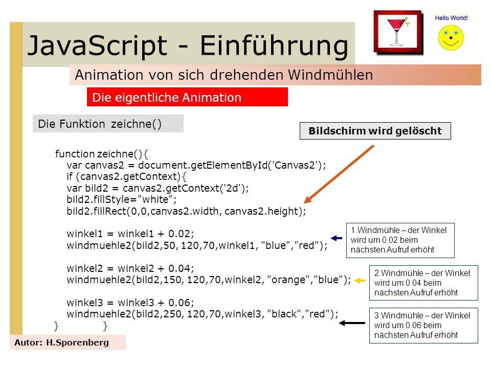 JavaScript - Einführung Animation von sich drehenden Windmühlen Autor: H.Sporenberg Die Funktion zeichne() Die eigentliche Animation function zeichne(