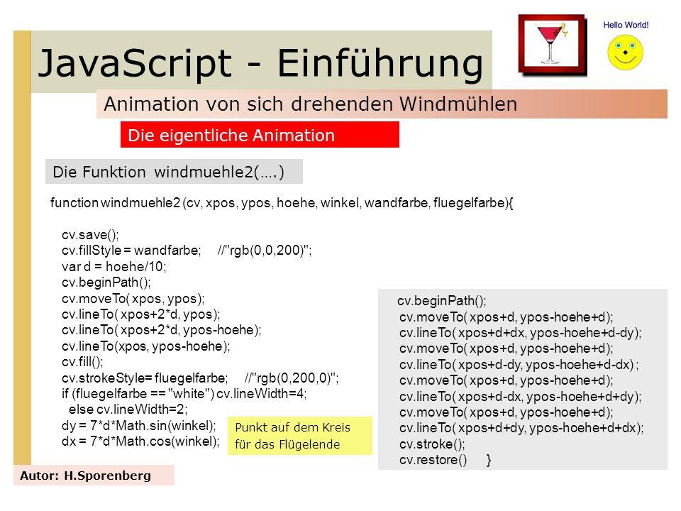 JavaScript - Einführung Animation von sich drehenden Windmühlen Autor: H.Sporenberg Die Funktion windmuehle2(….) Die eigentliche Animation function wi