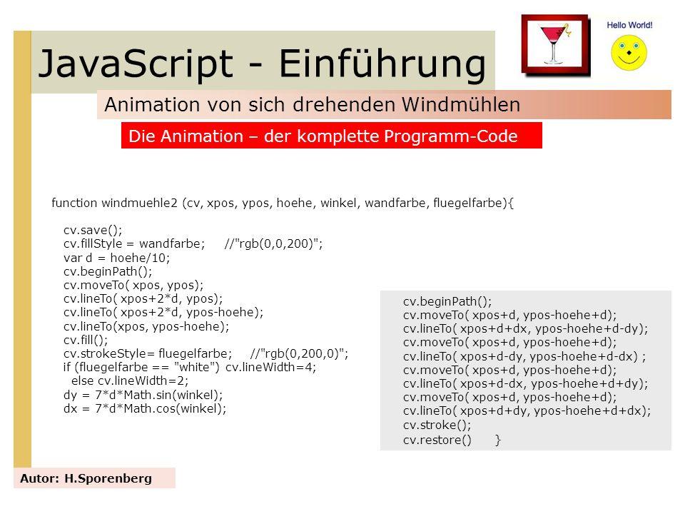 JavaScript - Einführung Animation von sich drehenden Windmühlen Autor: H.Sporenberg Die Animation – der komplette Programm-Code function windmuehle2 (