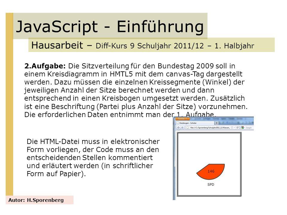 JavaScript - Einführung Hausarbeit – Diff-Kurs 9 Schuljahr 2011/12 – 1. Halbjahr Autor: H.Sporenberg 2.Aufgabe: Die Sitzverteilung für den Bundestag 2