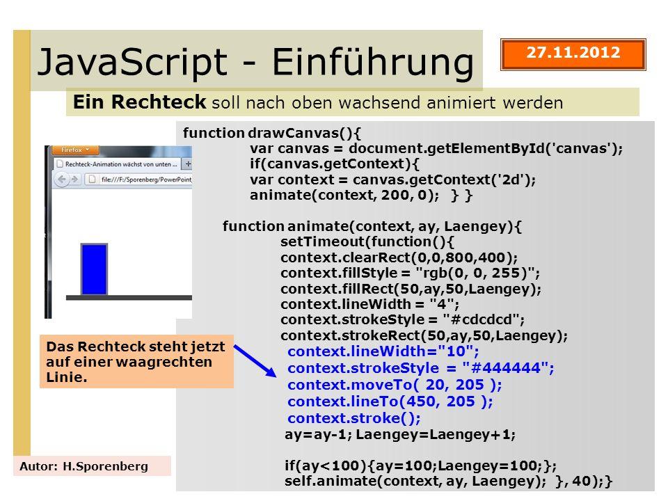 JavaScript - Einführung Ein Rechteck soll nach oben wachsend animiert werden Autor: H.Sporenberg function drawCanvas(){ var canvas = document.getEleme
