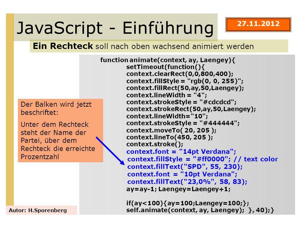 JavaScript - Einführung Ein Rechteck soll nach oben wachsend animiert werden Autor: H.Sporenberg function animate(context, ay, Laengey){ setTimeout(fu