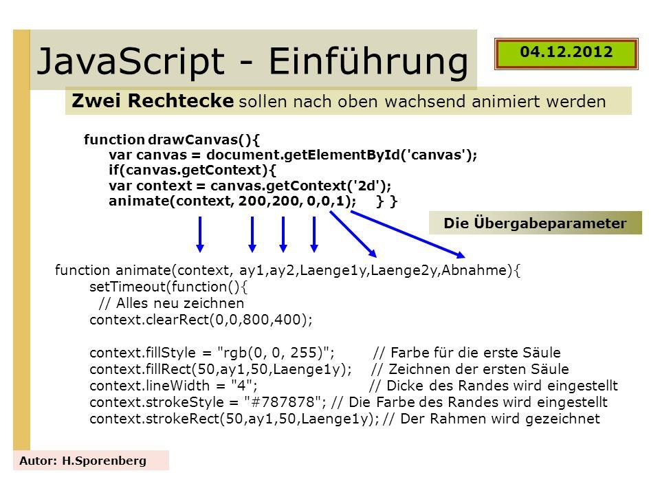 JavaScript - Einführung Zwei Rechtecke sollen nach oben wachsend animiert werden Autor: H.Sporenberg 04.12.2012 function drawCanvas(){ var canvas = do