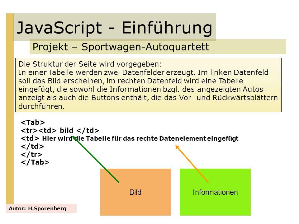 JavaScript - Einführung Projekt – Sportwagen-Autoquartett Autor: H.Sporenberg Die Struktur der Seite wird vorgegeben: In einer Tabelle werden zwei Dat