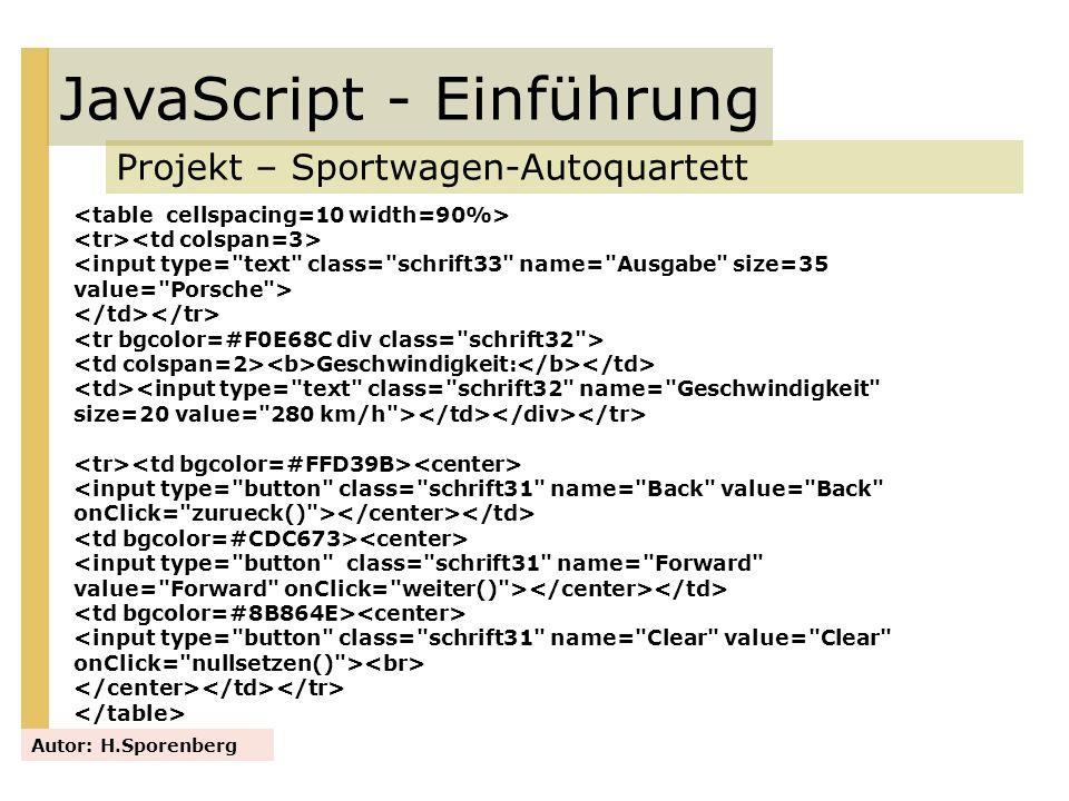 JavaScript - Einführung Projekt – Sportwagen-Autoquartett Autor: H.Sporenberg <input type=