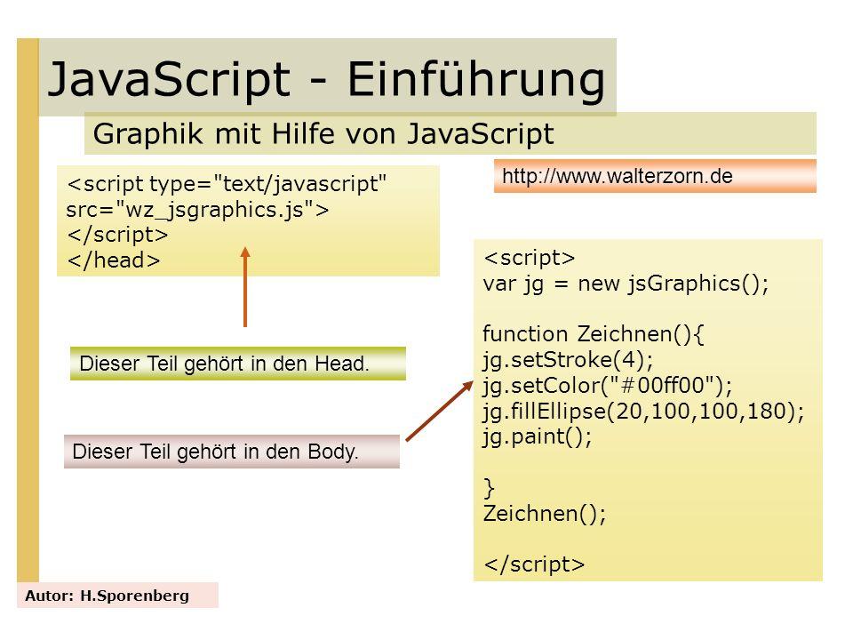 JavaScript - Einführung Graphik mit Hilfe von JavaScript Autor: H.Sporenberg http://www.walterzorn.de Dieser Teil gehört in den Head. var jg = new jsG