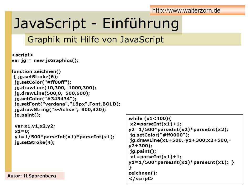 JavaScript - Einführung Graphik mit Hilfe von JavaScript Autor: H.Sporenberg http://www.walterzorn.de var jg = new jsGraphics(); function zeichnen() {