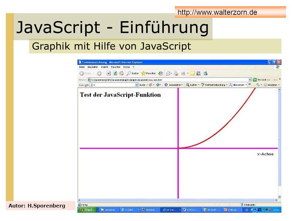 JavaScript - Einführung Graphik mit Hilfe von JavaScript Autor: H.Sporenberg http://www.walterzorn.de