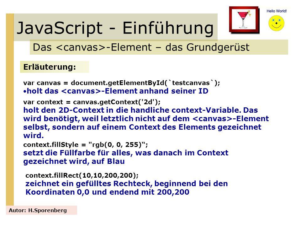 JavaScript - Einführung Das -Element – das Grundgerüst Autor: H.Sporenberg Erläuterung: var canvas = document.getElementById(`testcanvas`); holt das -