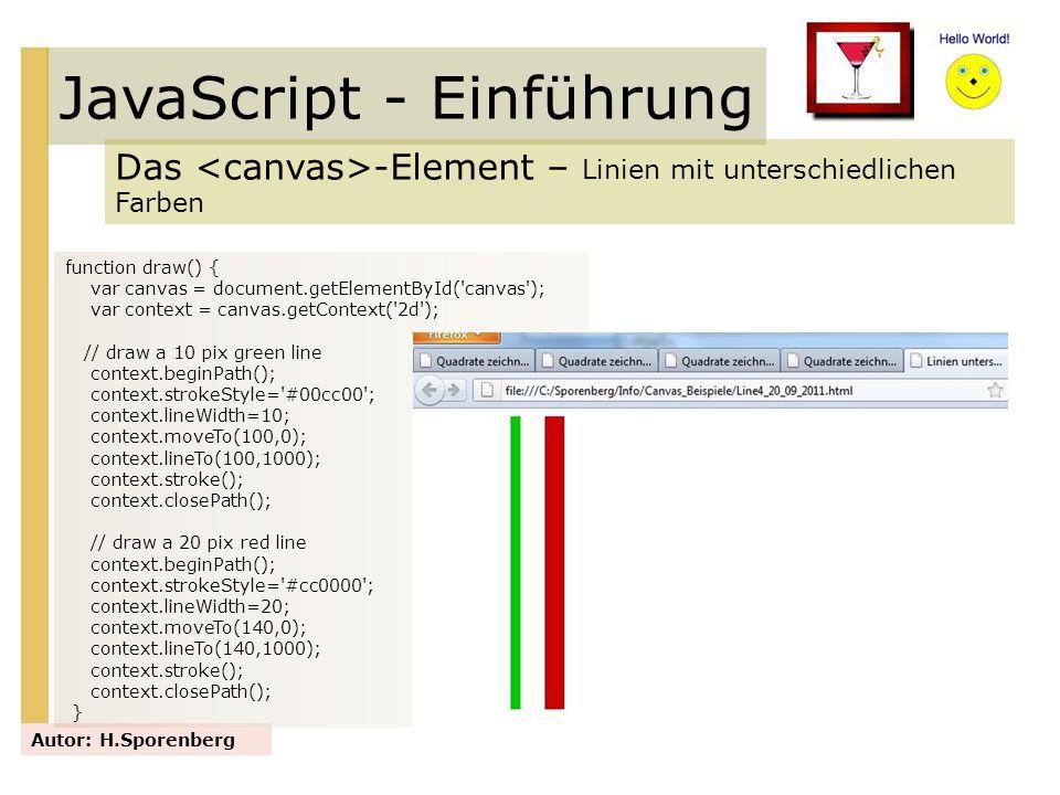JavaScript - Einführung Das -Element – Linien mit unterschiedlichen Farben Autor: H.Sporenberg function draw() { var canvas = document.getElementById(