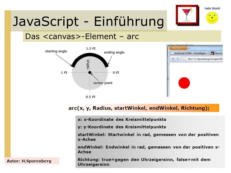 JavaScript - Einführung Das -Element – arc Autor: H.Sporenberg arc(x, y, Radius, startWinkel, endWinkel, Richtung); x: x-Koordinate des Kreismittelpun