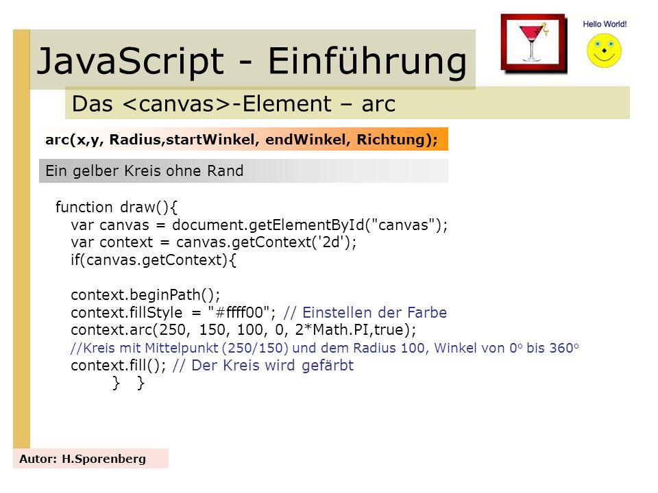 JavaScript - Einführung Das -Element – arc Autor: H.Sporenberg arc(x,y, Radius,startWinkel, endWinkel, Richtung); Ein gelber Kreis ohne Rand function