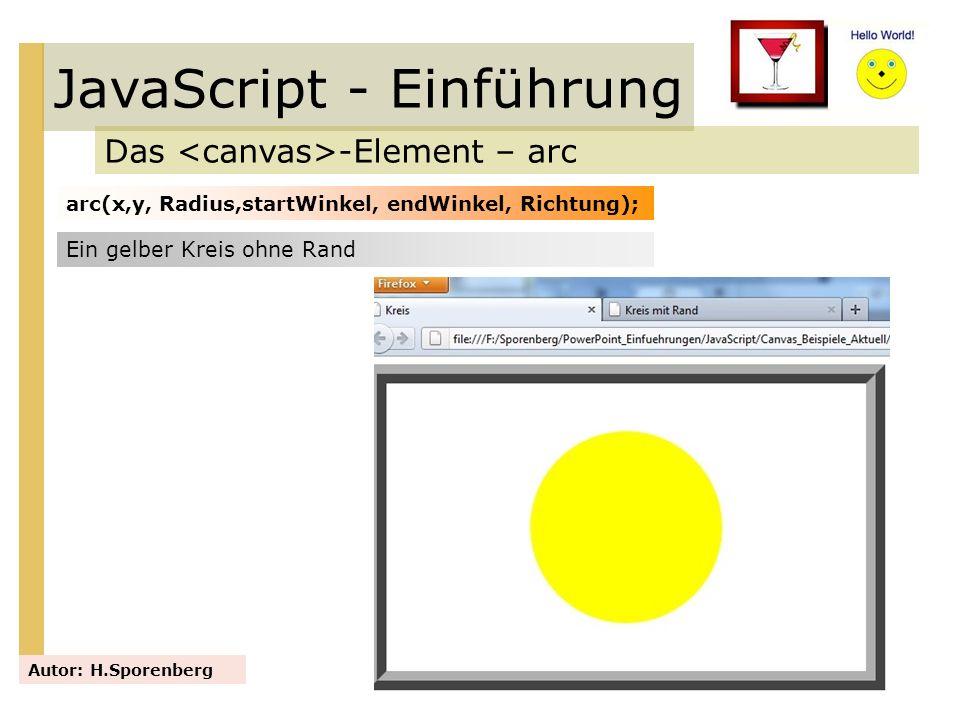 JavaScript - Einführung Das -Element – arc Autor: H.Sporenberg arc(x,y, Radius,startWinkel, endWinkel, Richtung); Ein gelber Kreis ohne Rand