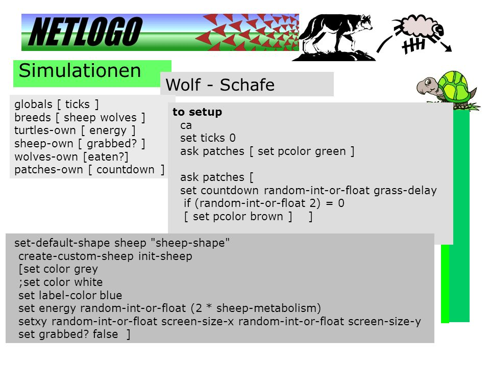 Simulationen Wolf - Schafe globals [ ticks ] breeds [ sheep wolves ] turtles-own [ energy ] sheep-own [ grabbed? ] wolves-own [eaten?] patches-own [ c