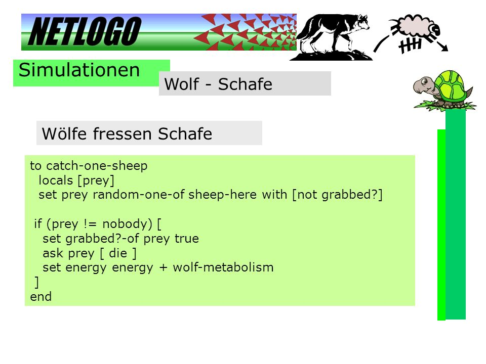 Simulationen Wolf - Schafe to catch-one-sheep locals [prey] set prey random-one-of sheep-here with [not grabbed?] if (prey != nobody) [ set grabbed?-o