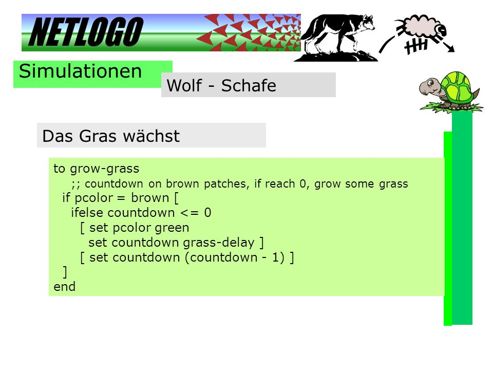 Simulationen Wolf - Schafe to grow-grass ;; countdown on brown patches, if reach 0, grow some grass if pcolor = brown [ ifelse countdown <= 0 [ set pc