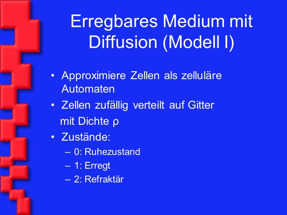 Erregbares Medium mit Diffusion (Modell I) Approximiere Zellen als zelluläre Automaten Zellen zufällig verteilt auf Gitter mit Dichte ρ Zustände: –0: Ruhezustand –1: Erregt –2: Refraktär