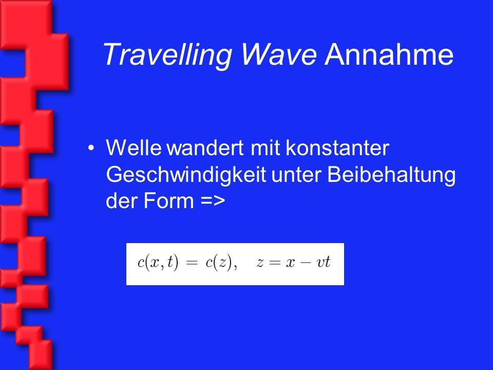 Travelling Wave Annahme Welle wandert mit konstanter Geschwindigkeit unter Beibehaltung der Form =>