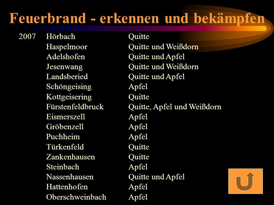 Feuerbrand - erkennen und bekämpfen 2007 Hörbach Quitte Haspelmoor Quitte und Weißdorn Adelshofen Quitte und Apfel Jesenwang Quitte und Weißdorn Lands