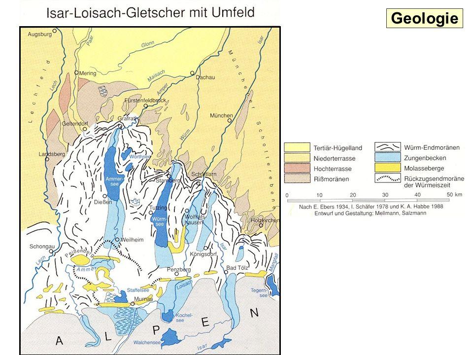 Geologische und naturräumliche Gliederung des Landkreises Süd-Nord -Schnittprofil durch den westlichen Landkreis = Altmoränenland (Rißeiszeit bis 150.000 Jahre v.Chr.) = Jungmoränenland (Würmeiszeit bis 10.000 Jahre v.Chr.) = Teriär-Hügelland bis 2 Mio Jahre v.Chr.) oben Schotter aus Würm- unten Schotter aus Rißeiszeit S N