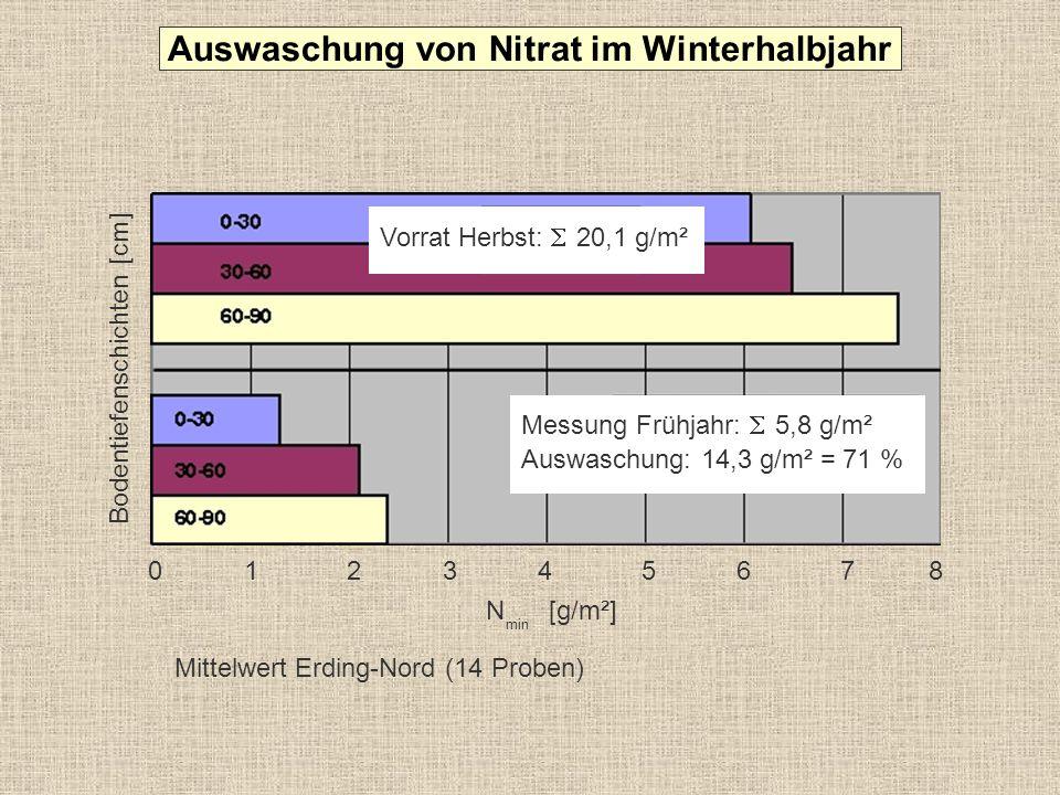 23 52 25 25 mg/l> 25 bis 50 mg/l> 50 mg/l 0 5 10 15 20 25 30 35 40 45 50 55 % der untersuchten Proben (2000 Proben, 2003) Grundwaser- vorkommen mit Gehalten > 25 mg Nitrat/l gelten als belastet (antropogene Belastung).