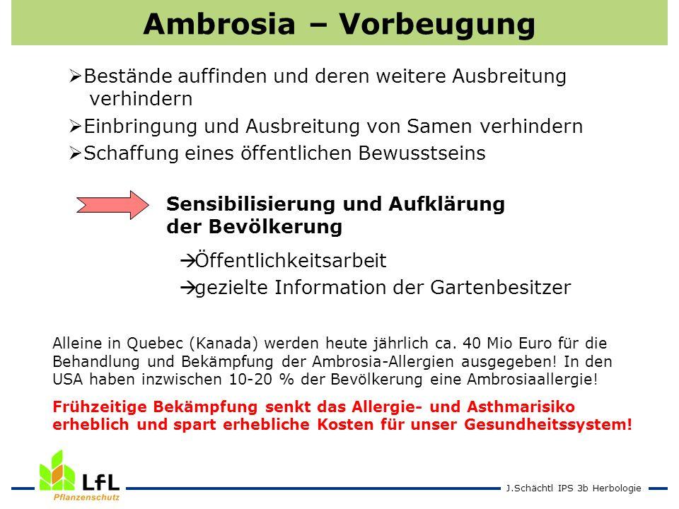 J.Schächtl IPS 3b Herbologie Ambrosia – Vorbeugung Bestände auffinden und deren weitere Ausbreitung verhindern Einbringung und Ausbreitung von Samen v