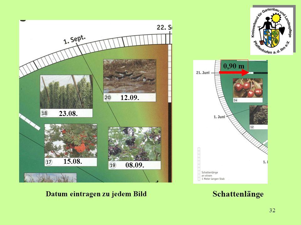 32 Schattenlänge 23.08. 08.09. 12.09. 15.08. 0,90 m Datum eintragen zu jedem Bild