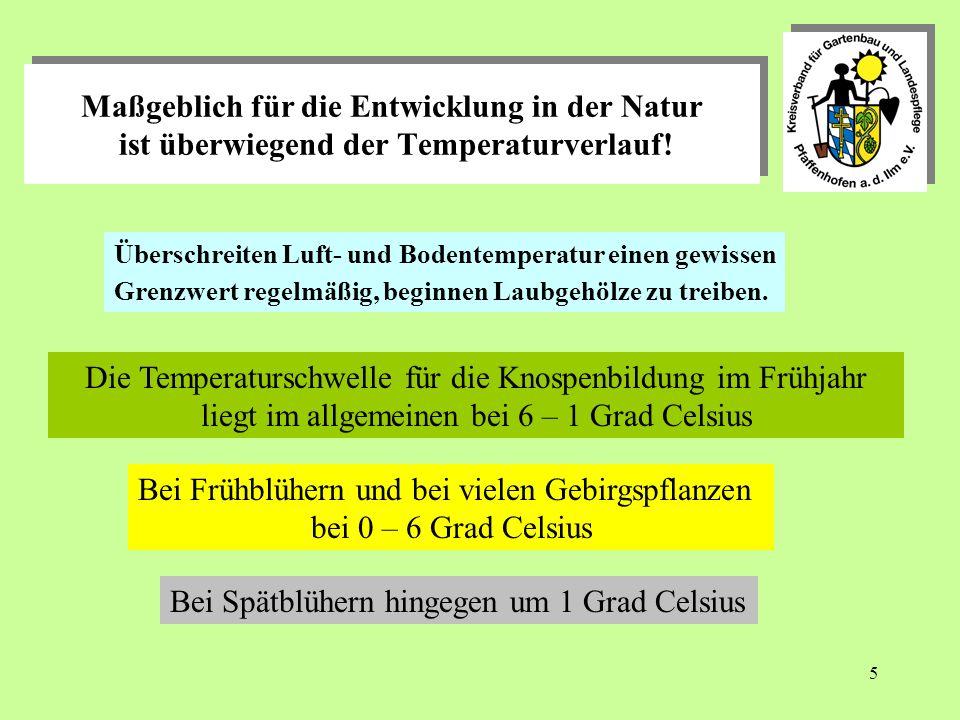 5 Maßgeblich für die Entwicklung in der Natur ist überwiegend der Temperaturverlauf.