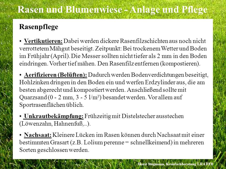 Horst Stegmann, Kreisfachberatung LRA FFB Rasen und Blumenwiese - Anlage und Pflege Vertikutieren: Dabei werden dickere Rasenfilzschichten aus noch ni