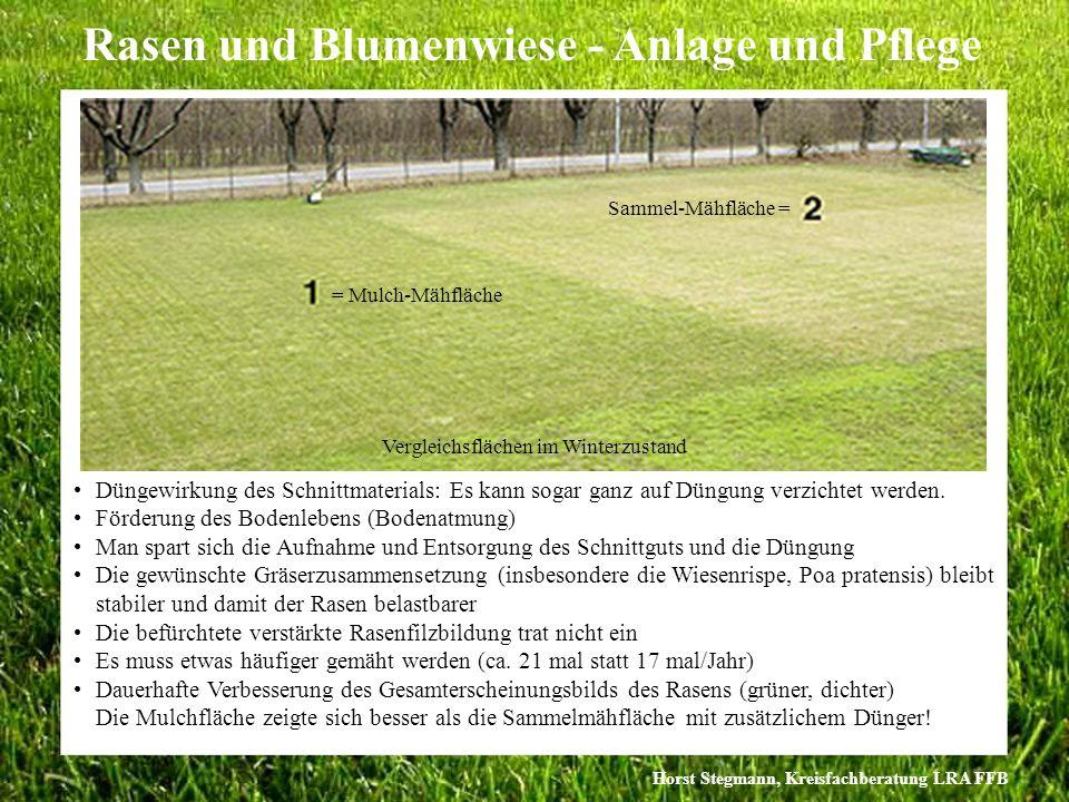 Horst Stegmann, Kreisfachberatung LRA FFB Rasen und Blumenwiese - Anlage und Pflege Düngewirkung des Schnittmaterials: Es kann sogar ganz auf Düngung