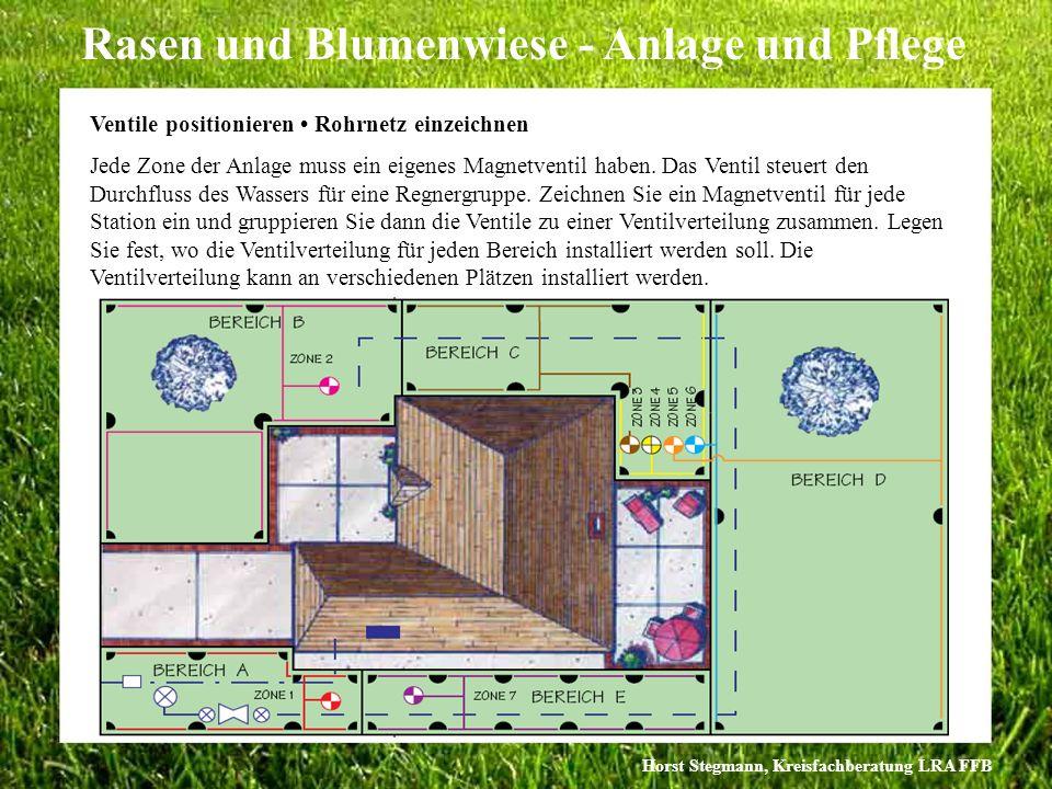 Horst Stegmann, Kreisfachberatung LRA FFB Rasen und Blumenwiese - Anlage und Pflege Ventile positionieren Rohrnetz einzeichnen Jede Zone der Anlage mu