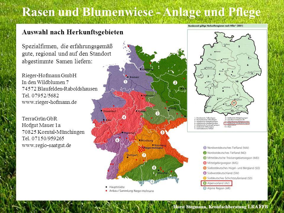 Horst Stegmann, Kreisfachberatung LRA FFB Rasen und Blumenwiese - Anlage und Pflege Rieger-Hofmann GmbH In den Wildblumen 7 74572 Blaufelden-Raboldsha