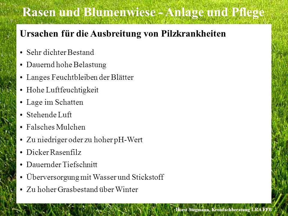 Horst Stegmann, Kreisfachberatung LRA FFB Rasen und Blumenwiese - Anlage und Pflege Ursachen für die Ausbreitung von Pilzkrankheiten Sehr dichter Best